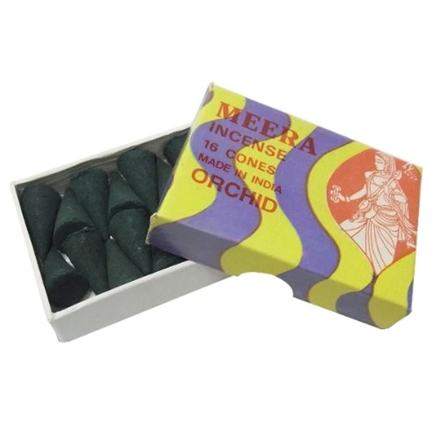 瞑想時計回り意識的オーキッドのお香(MEERA) コーン型お香 インド香