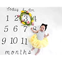 Kiddo KindベビーマイルストーンBlanket – 52 x 48 – Makes Unique Photo Props for Babies – Extra Large Monthly Ageブランケット作成Personalized各月の写真 – Perfect for Expecting Moms