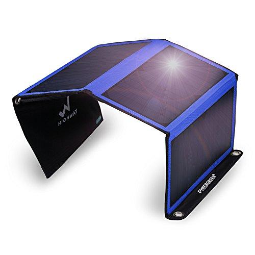 PowerGreen® 21W ソーラーチャージャー/パネル 2usbポート 防水 iPhone iPad等パワーバンク アウトドア 青