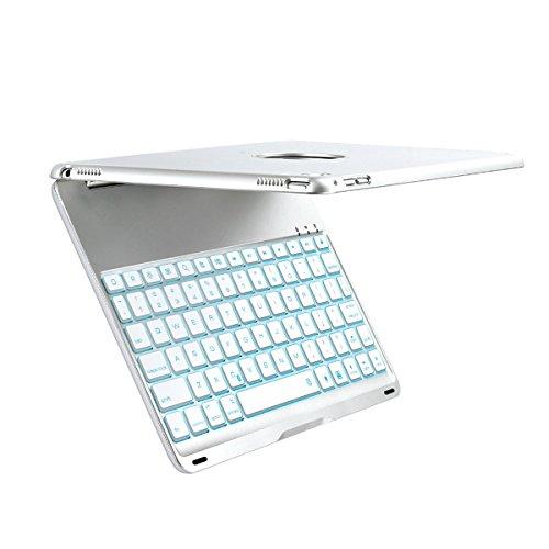 iEGrow キーボード iPad Pro9.7 air2 対応 軽量型 超薄型 金属 アルミカバー キーボード タブレット コンパクト ワイヤレス bluetooth バックライト(シルバー)
