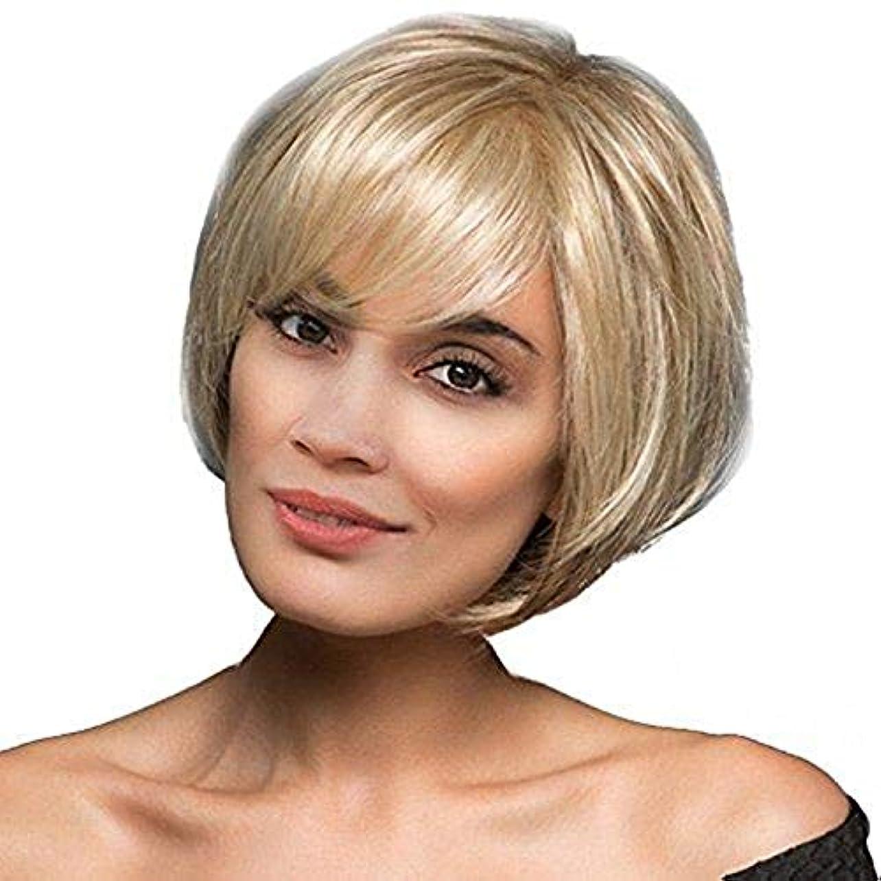 画面厚さカプセルYOUQIU 女性のかつらのための合成ウィッグブロンドボブスタイルウィッグショートカーリーヘアウィッグ (色 : Blonde)