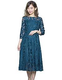 3e97e7078f4d0 (LaLa shop16) 結婚式 ワンピース ドレス パーティードレス パーティドレス ブルー 青 ミモレ丈