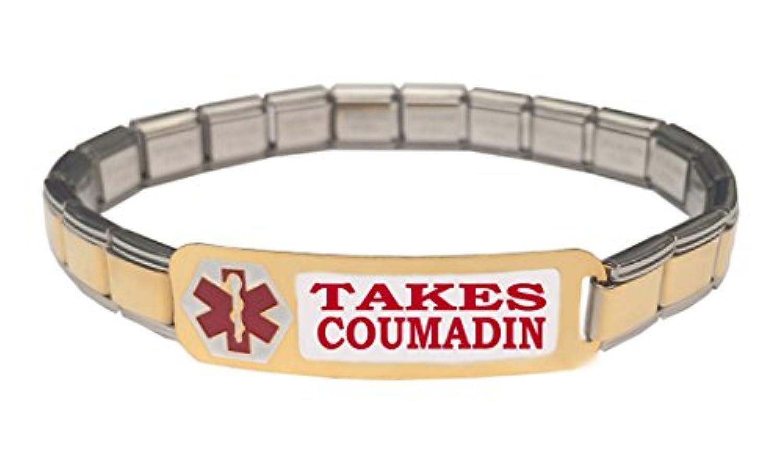 Takes Coumadin医療アラートステンレススチール9 mmイタリアチャームスターターブレスレット