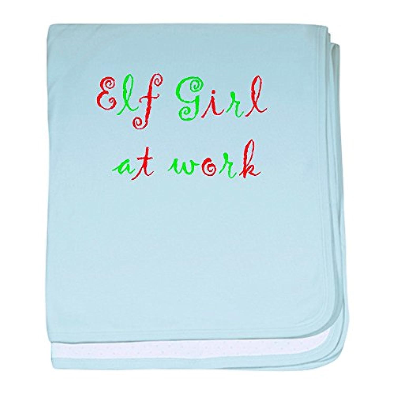 CafePress – Elf Girl at Work – スーパーソフトベビー毛布、新生児おくるみ ブルー 066729455125CD2