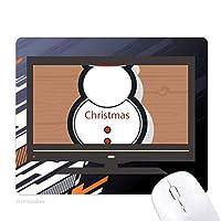 クリスマス雪だるまのクリスマスのアイコン ノンスリップラバーマウスパッドはコンピュータゲームのオフィス