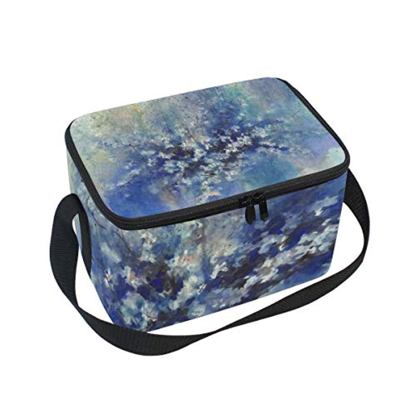 継続中ヒューマニスティック遊具クーラーバッグ クーラーボックス ソフトクーラ 冷蔵ボックス キャンプ用品 抽象 青い さくら 桜の花 保冷保温 大容量 肩掛け お花見 アウトドア