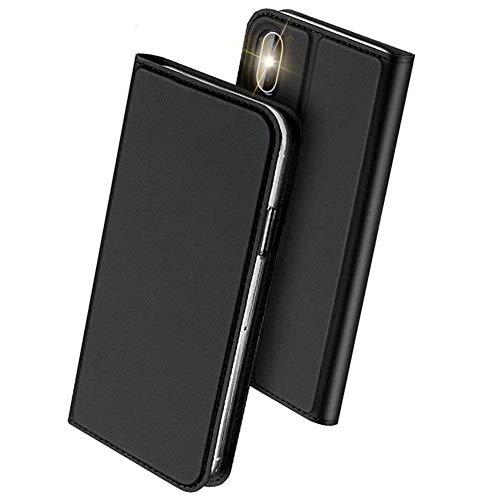 iPhone Xs ケース/iPhone X ケース 手帳型 スマホケース 合皮レザー 超薄型 カード収納 ワイヤレス充電対応 マグネット スタンド機能 耐衝撃 (iPhone Xs / iPhone X, ブラック)