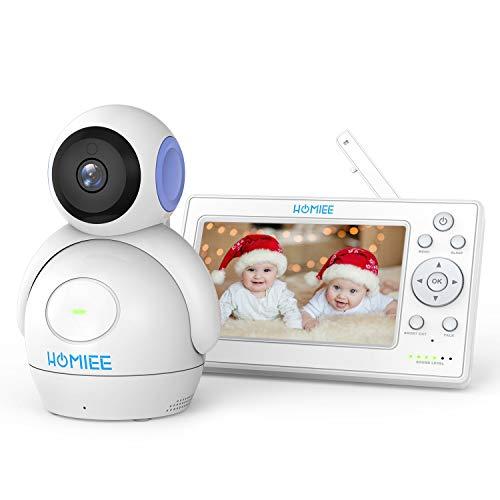 """HOMIEE 5""""LCDベビーモニター見守りカメラ ベビーカメラ充電式モニター 双方向音声通信 暗視機能 育児相棒 出産祝いプレゼント 日本語取扱説明書付き (紫の)"""