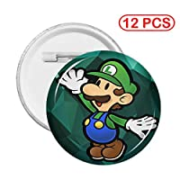 ボタンバッジスーパーマリオグリーンマッシュルームサークルブローチアートクラフトやその他のラウンドに最適な強力な小さなラウンドバッジホルダー