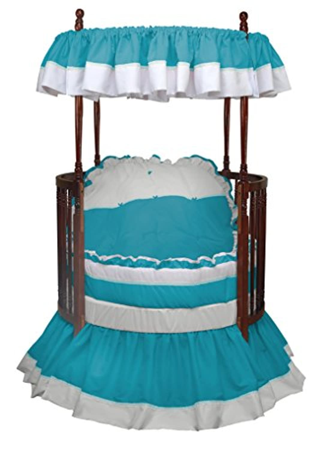 Baby Doll Bedding 6 Piece Regal Round Crib Bedding Set, Aqua by BabyDoll Bedding