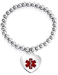 Heart Shape Tag Charm Engravable Identification Medical Alert ID Stretch Bracelet for Women Silver Tone Stainless