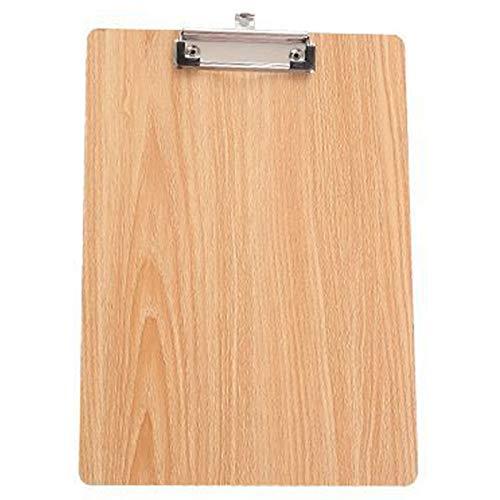SODIAL A4サイズの木製クリップボード、クリップボード、オフィスとスクールの文房具、ぶら下げ穴付きファイルのフォルダ、固定ボード、硬いボード、ライティングのプレート、クリップ