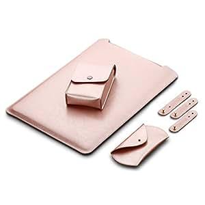 3DWORLD Macbook / Macbook air / Macbook pro用ケースセット ノートパソコンケース 合成レザー 超薄型  (11インチ, ピンク)