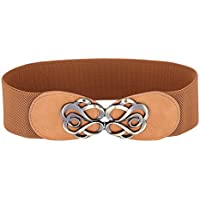 GRACE KARIN Women's Fashion Wide Metal Buckle Elastic Wide Waist Belt