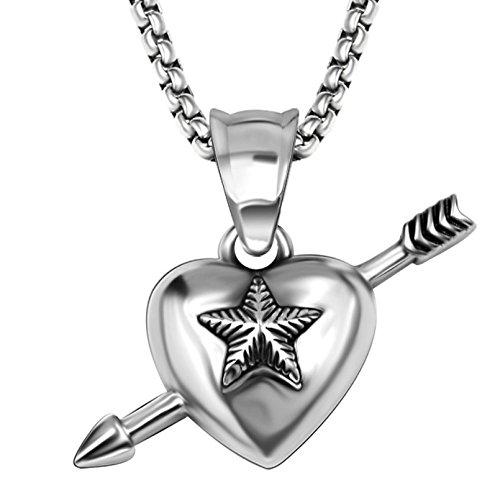 """[해외]""""silverKYASYA""""스테인레스 소재 스타 목걸이 화살 별 펜던트 스타 매력 연예인 착용 모델 롤 체인 포함 돈주머니 파우치에서 제공합니다/""""Silver KYASYA"""" stainless steel material star necklace arrow star pendant star char..."""