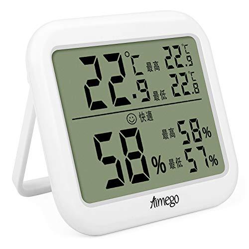 デジタル温湿度計 室内 温度計 湿度計 高精度 最高最低温湿度表示 LCD大画面温湿度計 置き掛け両用タイプ 健康管理 熱中症 操作簡単 小型 日本語説明書付 (ホワイト)