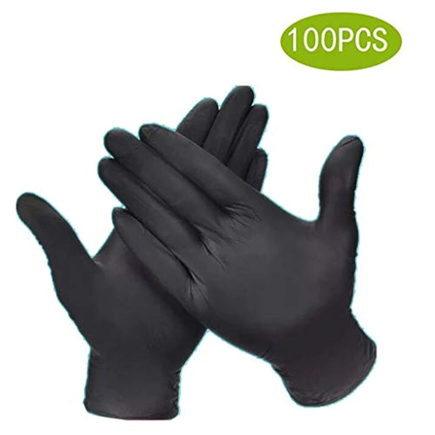 シェルター真実に恒久的使い捨て手袋食品ケータリング手術ディンチン厚い黒滑り止め酸とアルカリキッチン試験/食品グレード安全用品、使い捨てハンドグローブディスペンサー[100個] (Size : M)