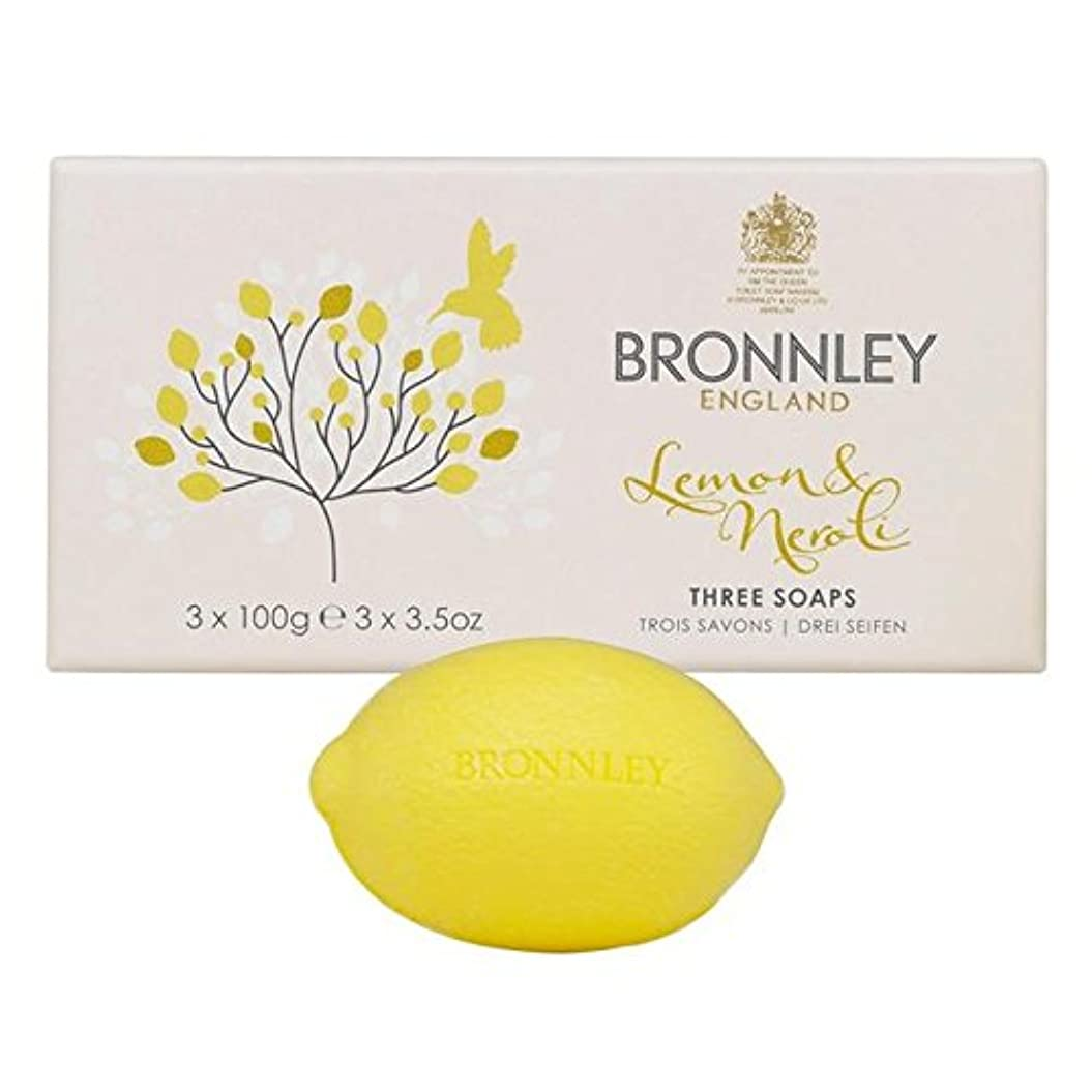 消すバドミントンおなじみのBronnley Lemon & Neroli Soaps 3 x 100g - レモン&ネロリ石鹸3×100グラム [並行輸入品]
