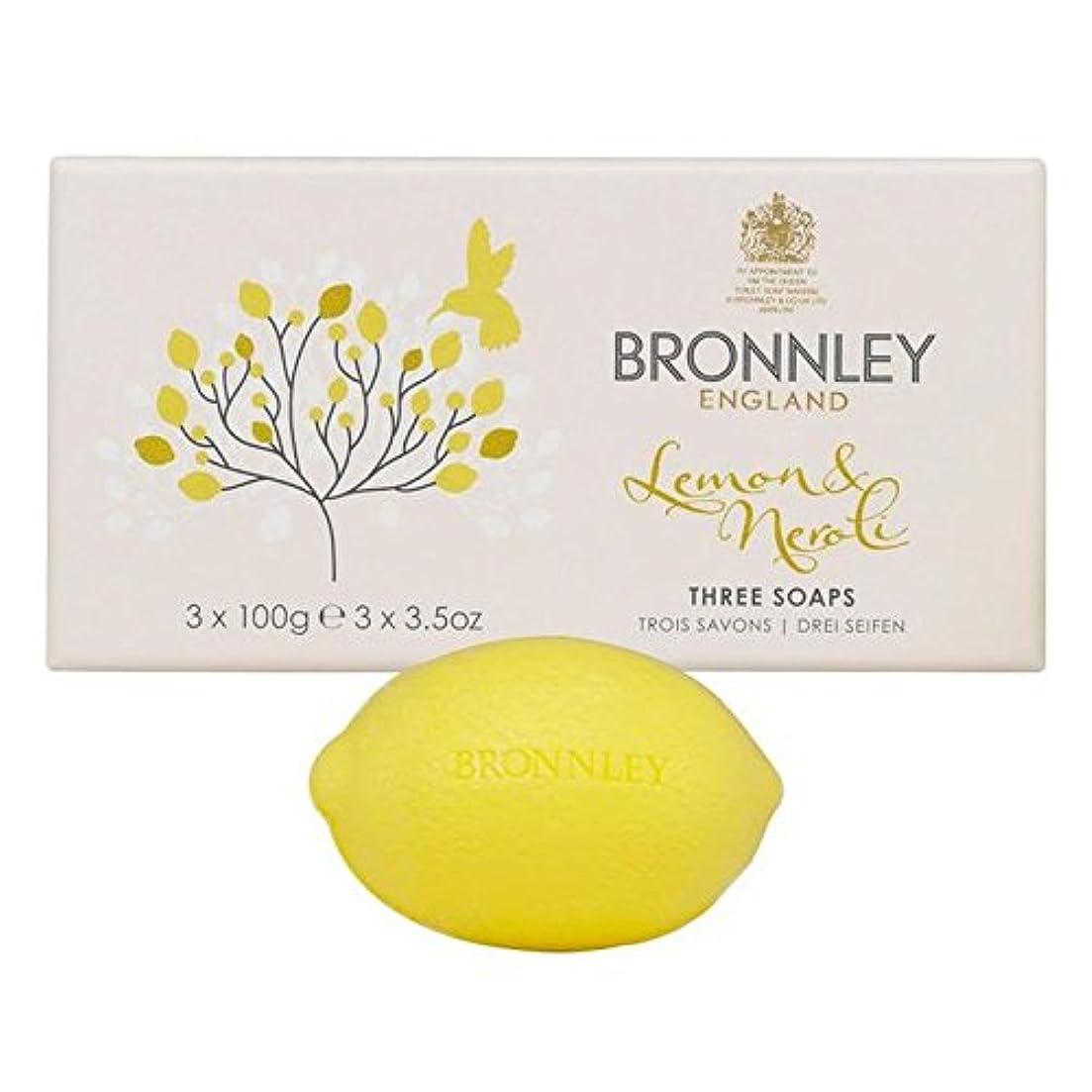 Bronnley Lemon & Neroli Soaps 3 x 100g - レモン&ネロリ石鹸3×100グラム [並行輸入品]