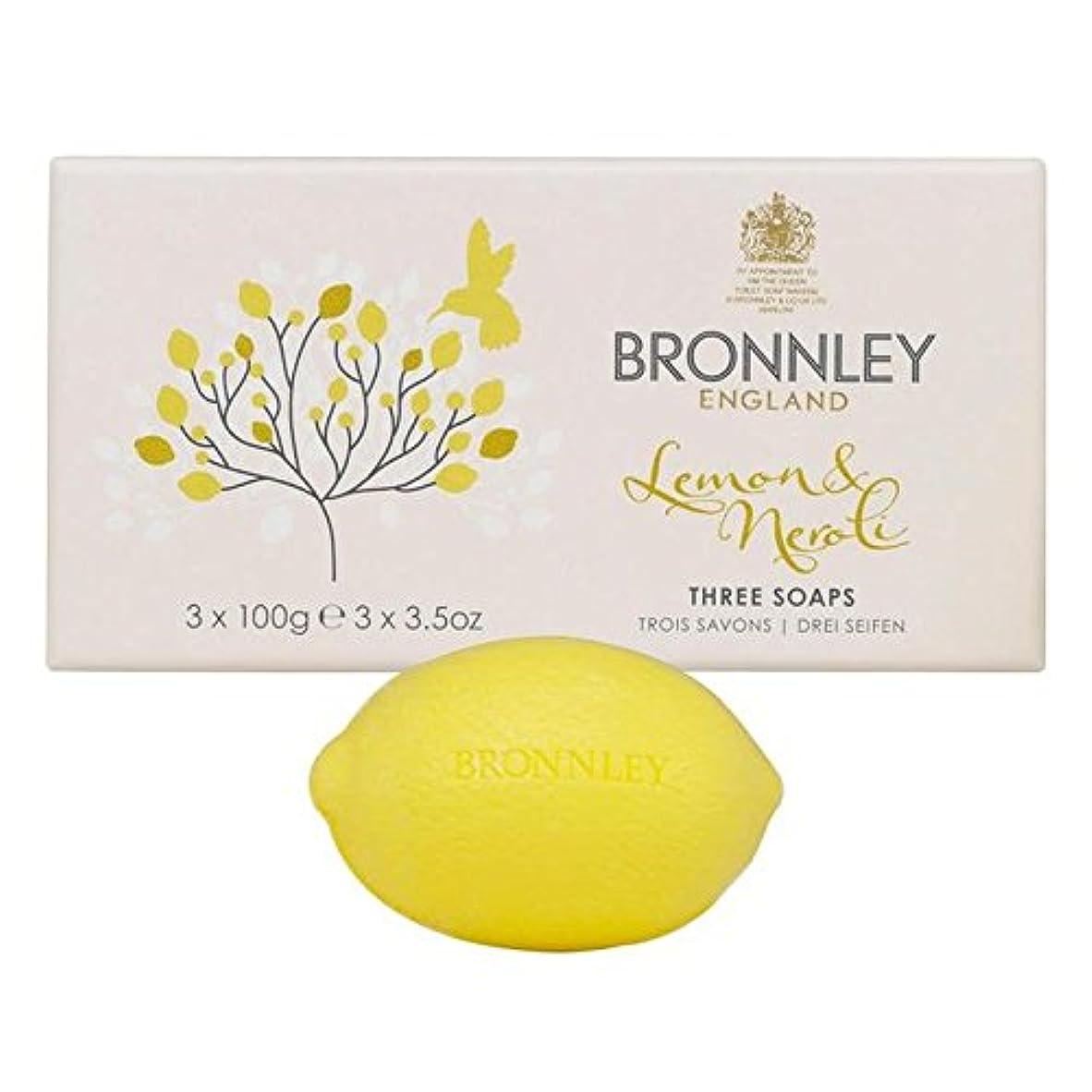 活気づけるブルーム海洋Bronnley Lemon & Neroli Soaps 3 x 100g - レモン&ネロリ石鹸3×100グラム [並行輸入品]