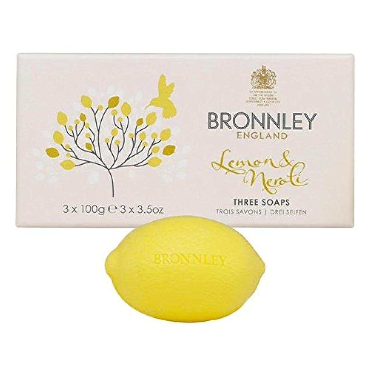 促す雪鋭くBronnley Lemon & Neroli Soaps 3 x 100g - レモン&ネロリ石鹸3×100グラム [並行輸入品]