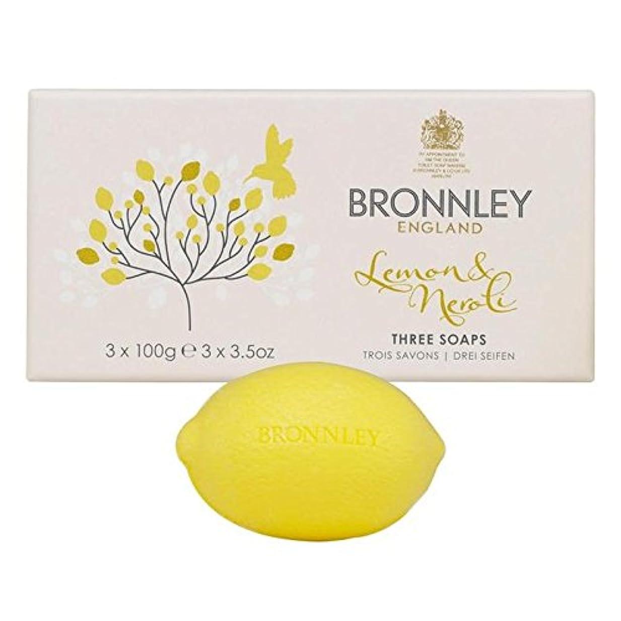 フィヨルド中央ブローBronnley Lemon & Neroli Soaps 3 x 100g (Pack of 6) - レモン&ネロリ石鹸3×100グラム x6 [並行輸入品]