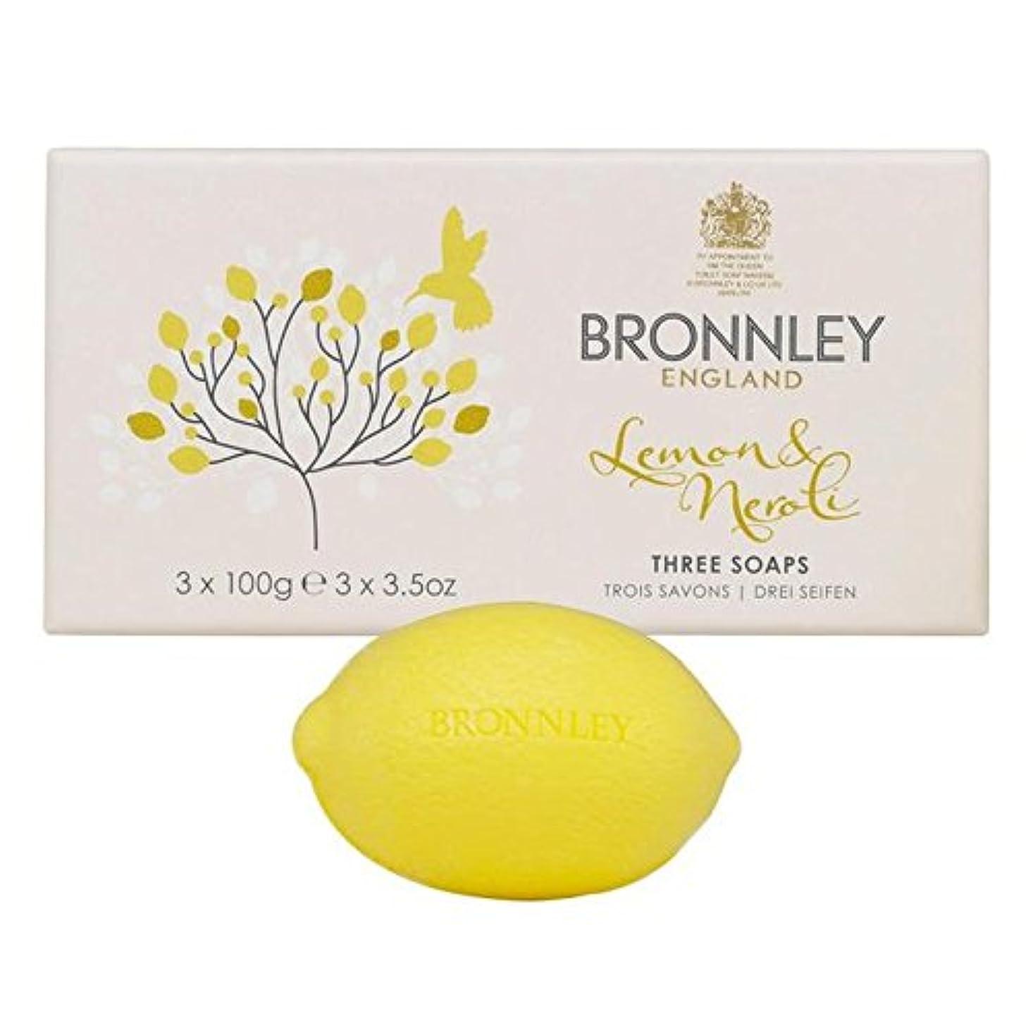 割り込み人差し指ブラストレモン&ネロリ石鹸3×100グラム x4 - Bronnley Lemon & Neroli Soaps 3 x 100g (Pack of 4) [並行輸入品]