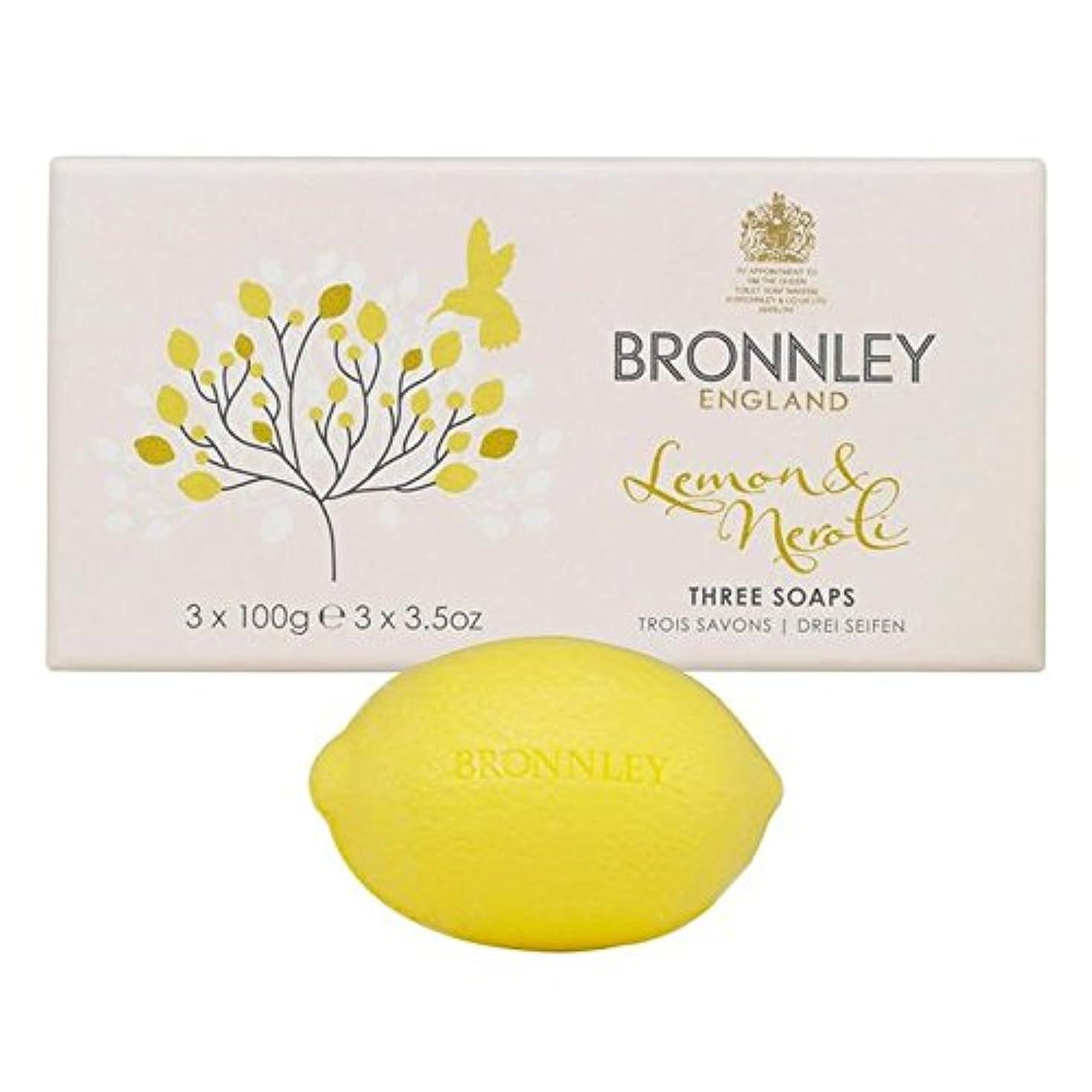 振る舞いまもなく人道的Bronnley Lemon & Neroli Soaps 3 x 100g - レモン&ネロリ石鹸3×100グラム [並行輸入品]