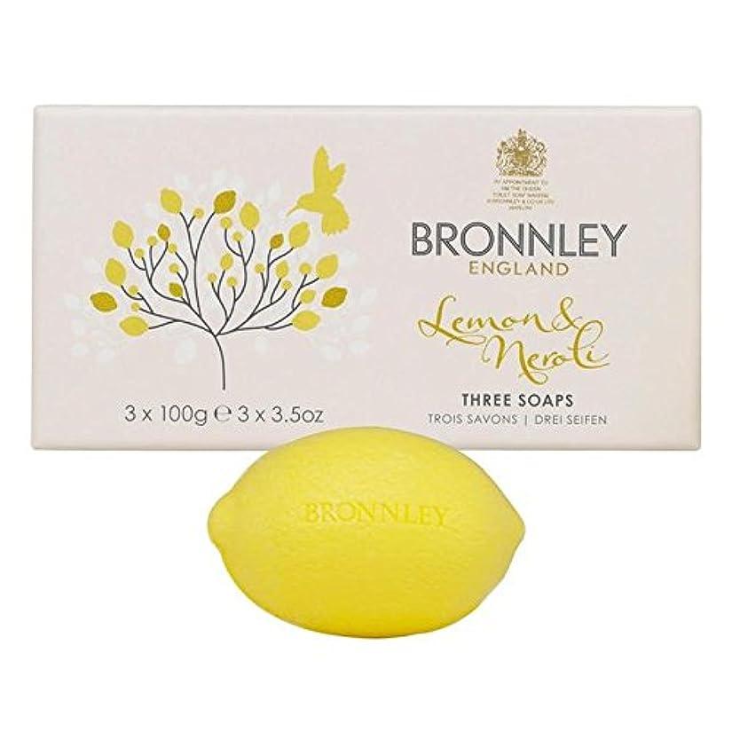 艶中世の粘着性Bronnley Lemon & Neroli Soaps 3 x 100g - レモン&ネロリ石鹸3×100グラム [並行輸入品]