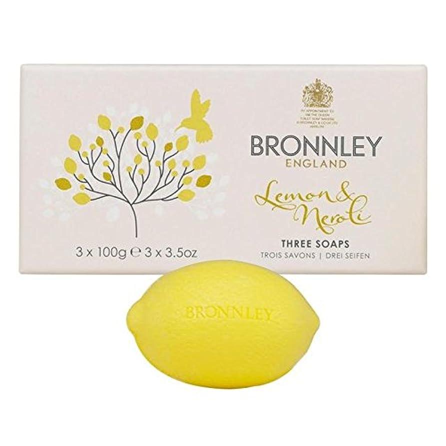 バドミントン人キノコレモン&ネロリ石鹸3×100グラム x4 - Bronnley Lemon & Neroli Soaps 3 x 100g (Pack of 4) [並行輸入品]