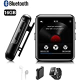 Mini Clip 16GB MP3 Player with Bluetooth4.2 Portable Music Player 1.5 Inch Touch Screen with Headphone, Back Clip, Strap, HiFi Metal Audio Player with FM, Recorder for Sport Running - Black