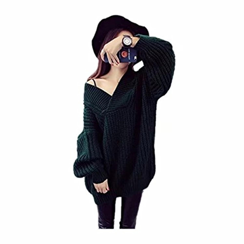 FollowDream レディース セーター ニット Vネック ゆったり ざっくり 長袖  セクシー おしゃれ