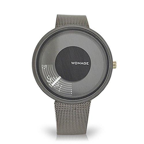 ZooooM 未来 風 アナログ 腕 時計 数字 ユニーク デザイン 文字盤 ウォッチ ファッション アクセサリー シンプル 文字 おもしろ 面白 カジュアル メンズ レディース 男性 女性 男 女 兼 用 可愛い かわいい (ブラック) ZM-2TOWDOKE-BK
