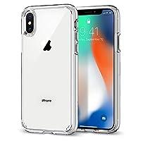 【Spigen】iPhone X ケース, [ 全面 クリア ] [ 米軍MIL規格取得 ] [ Qi 充電 対応 ] [ 落下 衝撃 吸収 ] ウルトラ・ハイブリッド アイフォン X 用 耐衝撃 カバー (iPhone X, クリスタル・クリア)