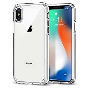 【Spigen】Apple iPhone X ケース, 全面 クリア Qi充電対応 米軍MIL規格取得 アップル アイフォン X 用 耐衝撃 カバー ウルトラ・ハイブリッド (iPhone X, クリスタル・クリア)
