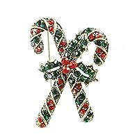 JczR.Y クリスマス クラッチ ブローチ レッド グリーン ラインストーン クリスタル クロス クラッチ リボン ノット ブローチ 女性用 パーティー 宴会 ブートニエール ピン