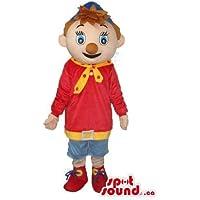ブラウンノーズキャップと赤と青の男少年マスコッ??トSpotSoundカナダ