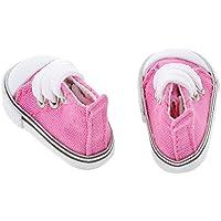 【ノーブランド品】 1/6 BJD 人形 アクセサリー 靴 レースアップ ハイトップ キャンバス シューズ ペア 装飾 贈り物 全9色 - フクシア