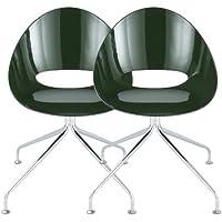 チェアー 2脚セット アジャスター付き エッグチェア 椅子 ダイニングチェア パソコンチェア ダークグリーン