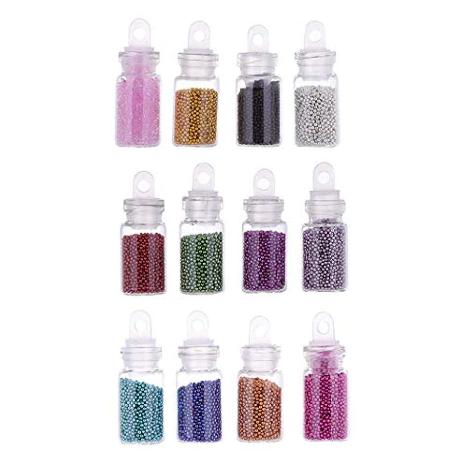 ラフト増加する有能なWadachikis 最高品質1瓶12色ミニビーズキャビアビーズネイルアートデコレーションツール(None Picture Color)