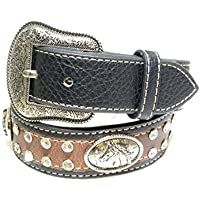 Kids Western Belts with Rhinestone Tooled Leather