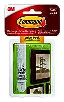 Command 17206-12ES 12枚パック Lサイズ WHT 絵画吊り下げストリップ - 数量4 (48ペア)