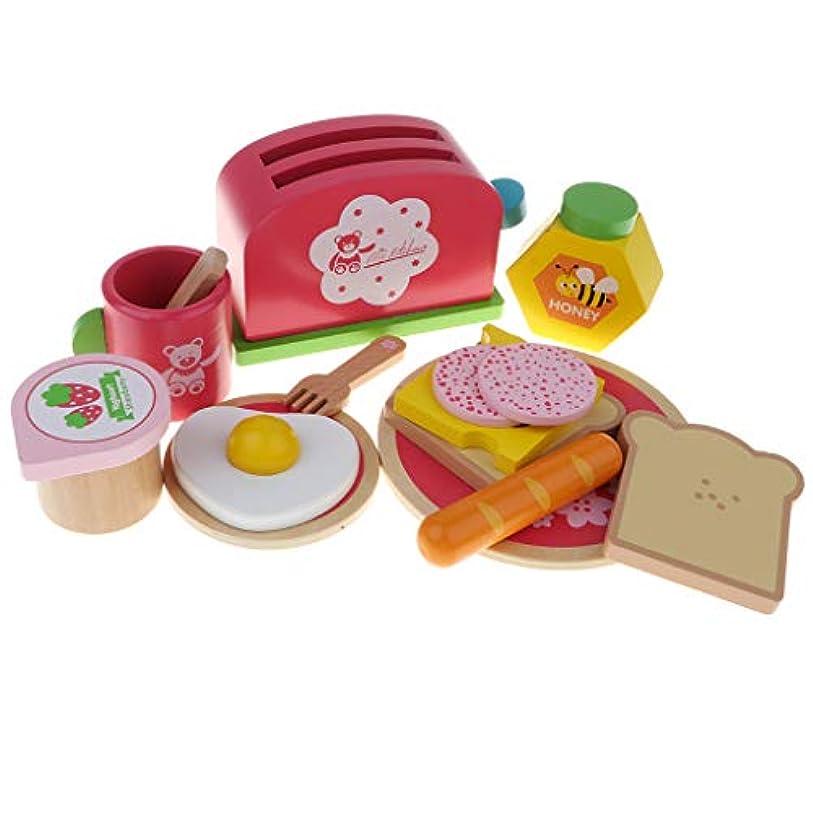 議論するデコラティブ作動するドールハウス装飾 ミニ キッチン 朝食セット 食器 調理器具 食べ物模型 おままごと おもちゃ 木製