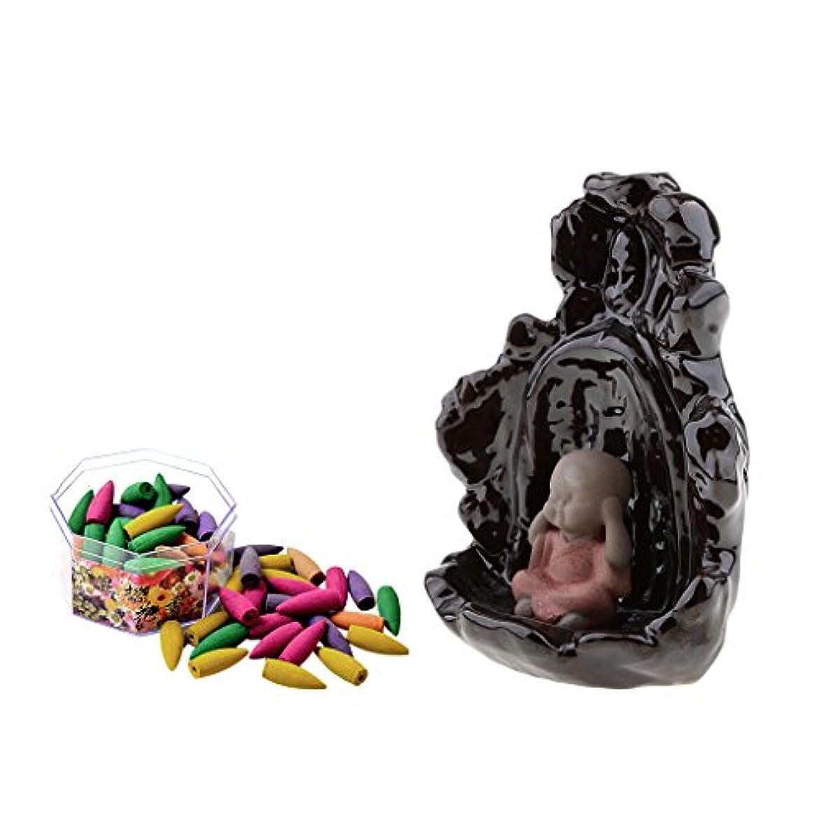 monkeyjack手作り磁器セラミック煙逆流香炉Monk Statue Censer + 70混合Incense Cones炉