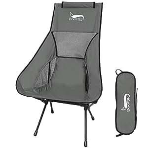 DesertFox アウトドアチェア 折りたたみ 超軽量【ハイバック】【耐荷重150kg】コンパクト イス 椅子 収納袋付属 お釣り 登山 携帯便利 キャンプ椅子0016 (グレー T/ハイバック)