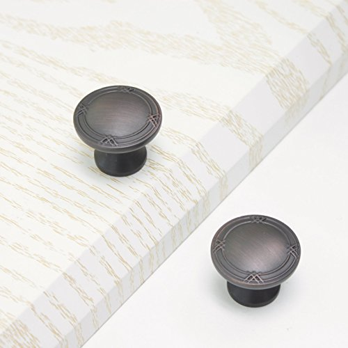 Probrico 1-1/3 Inch Diameter Round Kitchen Hardware Drawer Pulls Cabinet Knobs and Handles Oil Rubbed Bronze 10 Pack