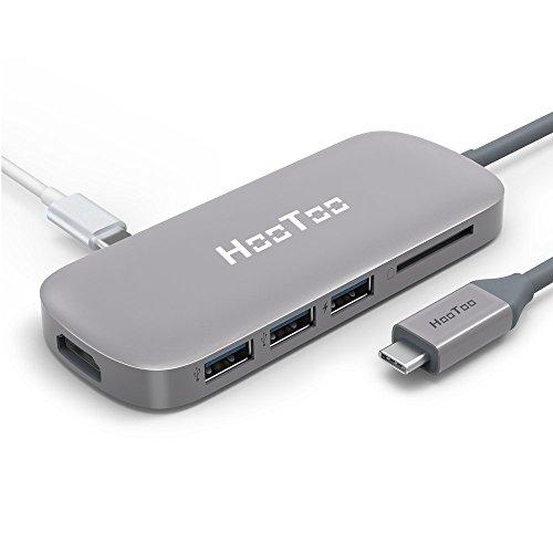 HooToo USB C ハブ Type C macbook USB 3.0ポート*3 PD充電 HDMI 4Kビデオ SDカードリーダー Type-C ハブ MacBook/type-c パソコン 対応 HT-UC001 (グレー)
