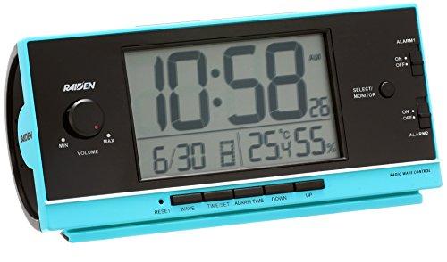 セイコー クロック 目覚まし時計 電波 デジタル 大音量 PYXIS ピクシス RAIDEN ライデン 青 NR534L SEIKO