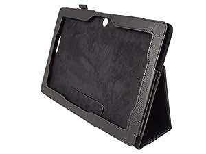 ASUS MeMO Pad Smart ME301T PUレザー カバー ケース (ME301-16 10.1インチ タブレット 対応)  Soft PU Leather Cover Case スタンド機能 / タッチペン収納ゴム付き 【 high quality Black(黒)】