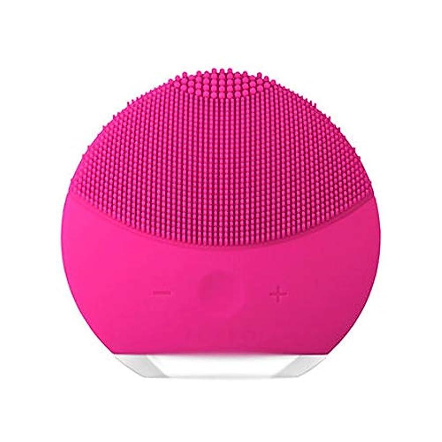 無意識表面的な練るHEHUIHUI- クレンジングブラシ、ディープクレンジングフェイシャル、防水性と振動性のクレンジングブラシ、アンチエイジング、優しい角質除去とマッサージ(ピンク) (Color : Red)